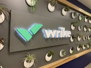 Lighted letters sign for wrike